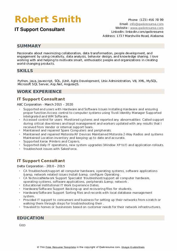 IT Support Consultant Resume example