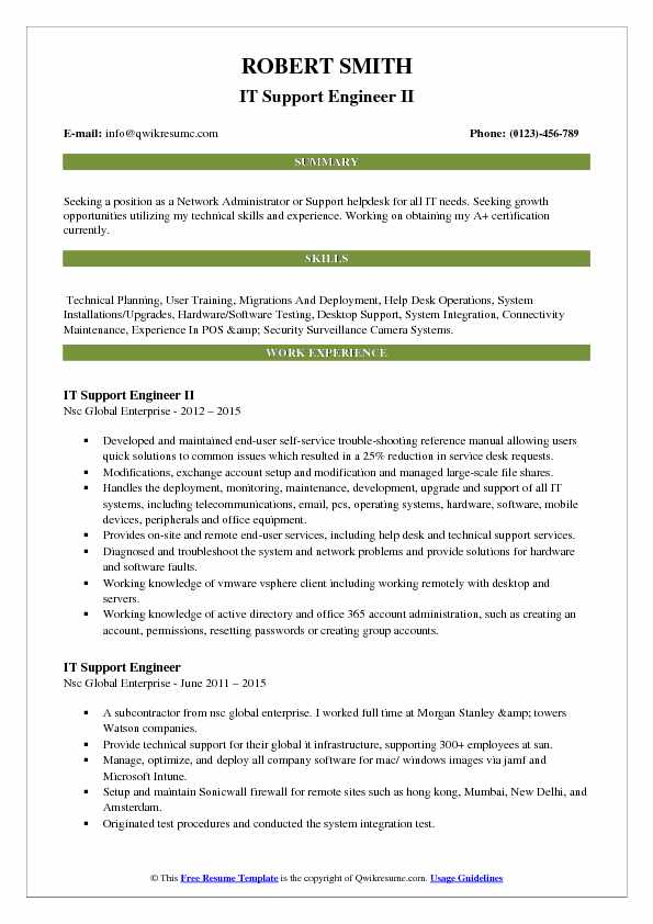 IT Support Engineer II Resume Format