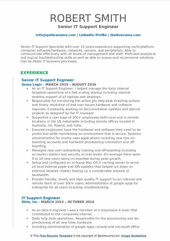 Senior IT Support Engineer Resume Sample