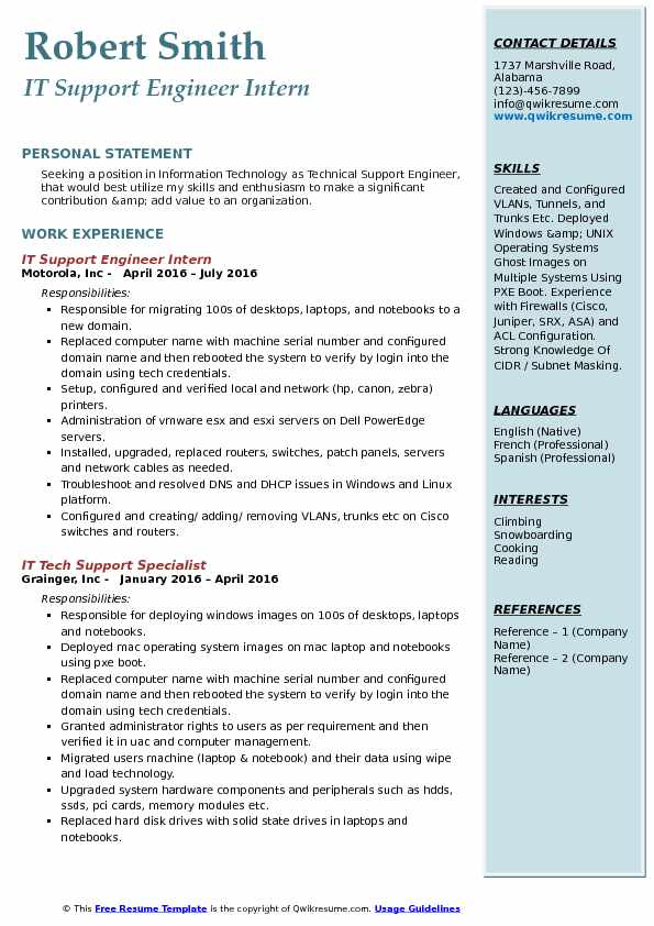 IT Support Engineer Intern Resume Template