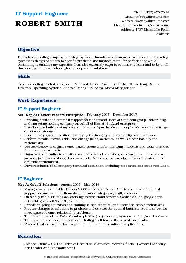IT Support Engineer Resume Template