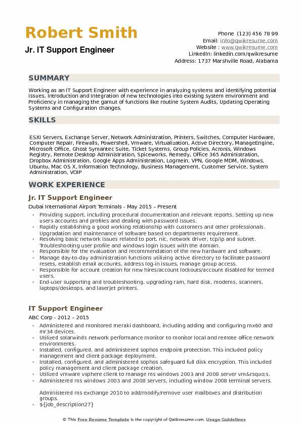 Jr. IT Support Engineer  Resume Format