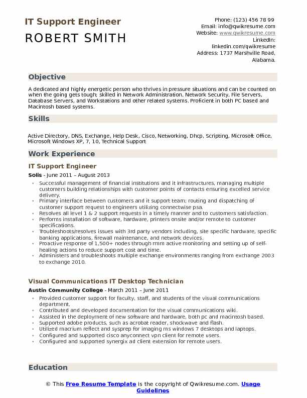 IT Support Engineer Resume example