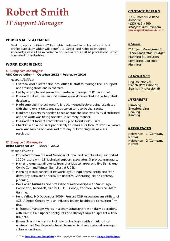 it support manager resume samples