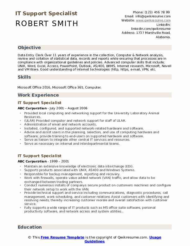 IT Support Specialist Resume Format