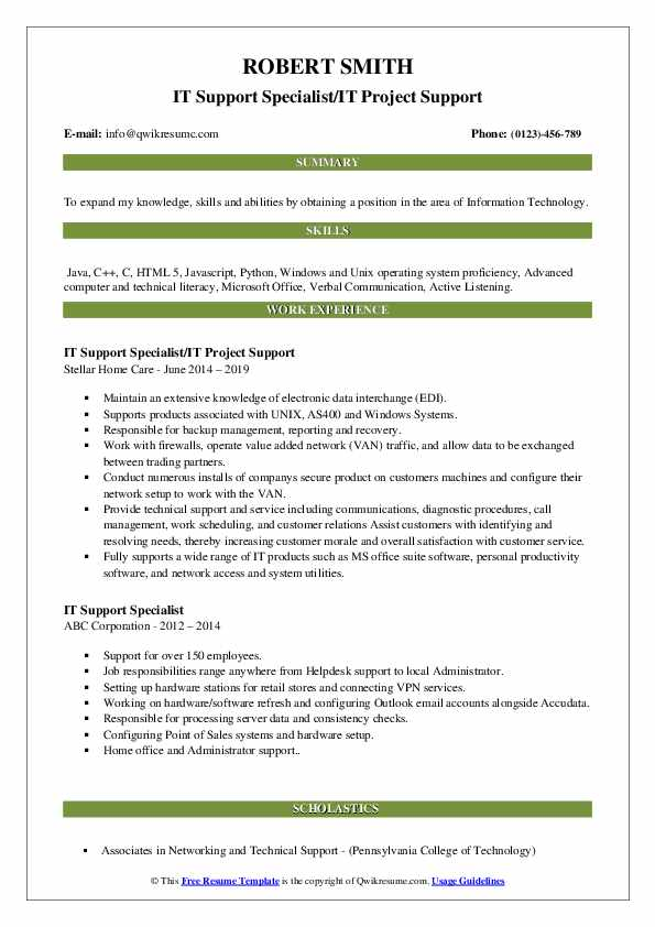 IT Support Specialist/IT Project Support Resume Model