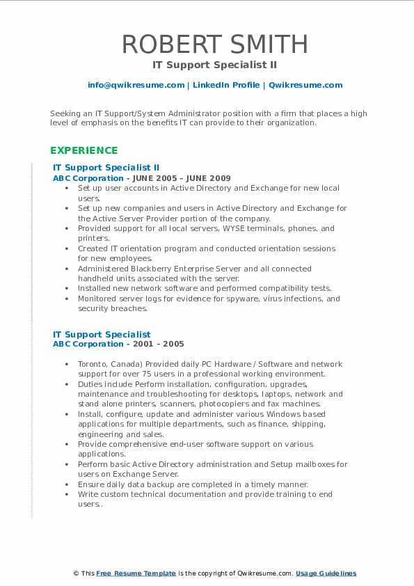 IT Support Specialist II Resume Format