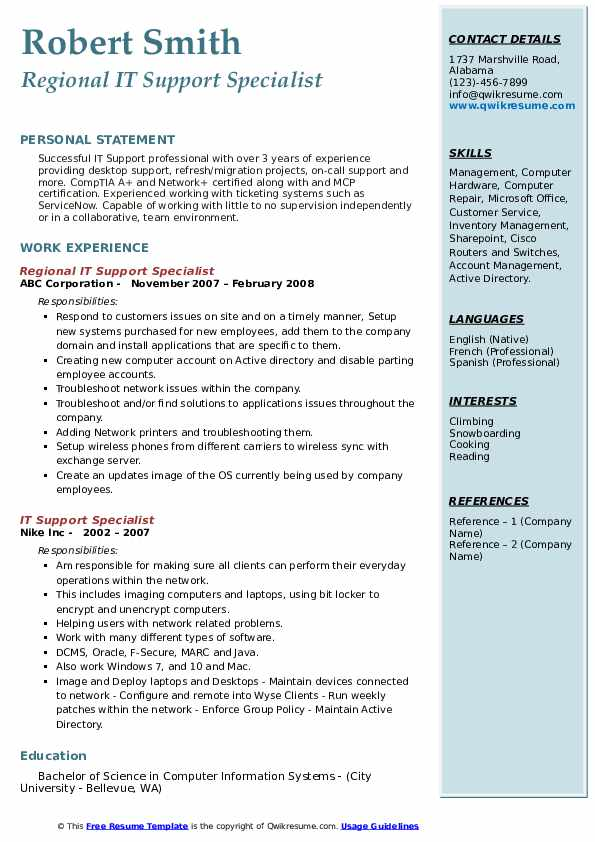 Regional IT Support Specialist Resume Model