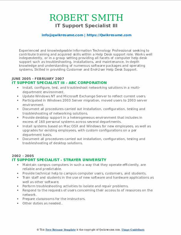 IT Support Specialist III Resume Format