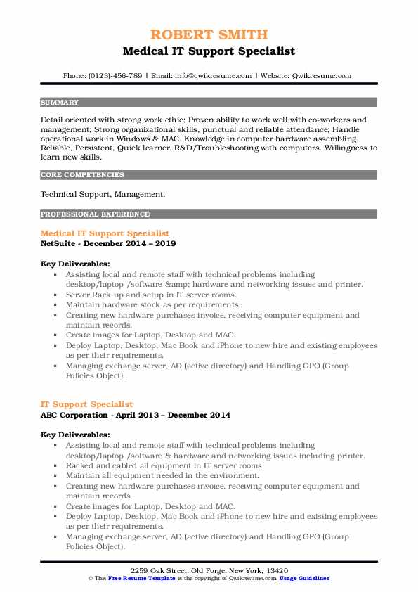 Medical IT Support Specialist Resume Sample