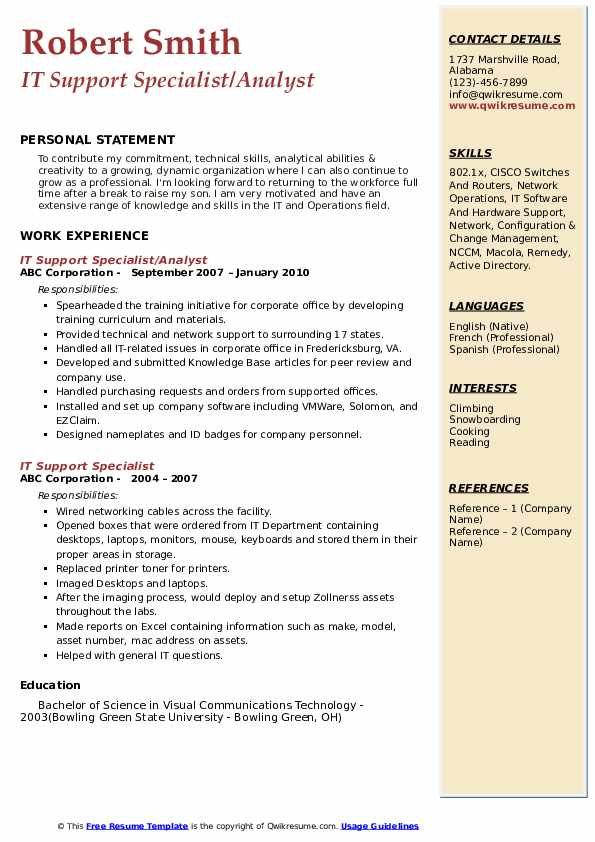 IT Support Specialist/Analyst Resume Sample