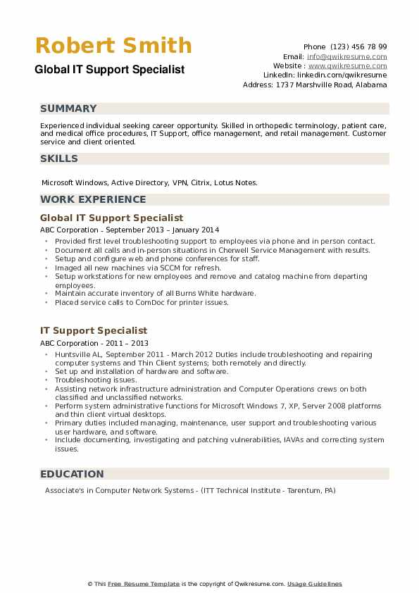 Global IT Support Specialist Resume Format