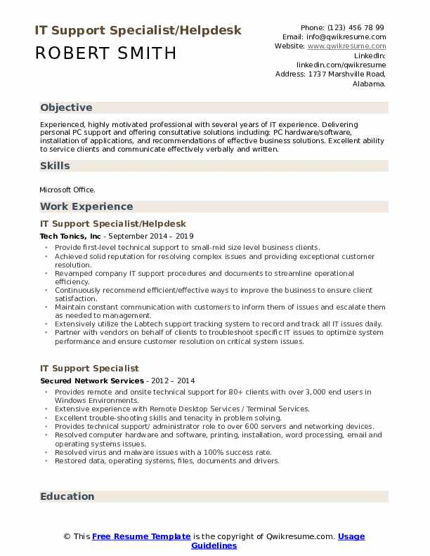 IT Support Specialist/Helpdesk Resume Template