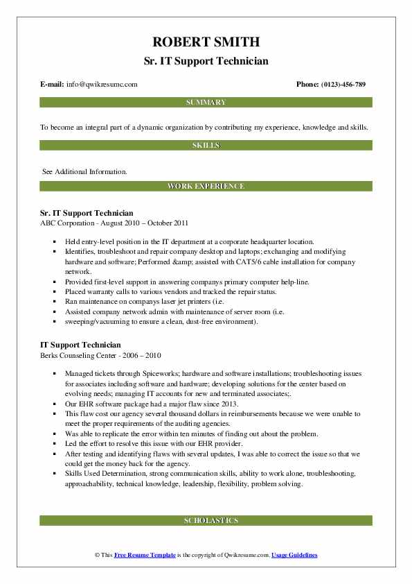 It Support Technician Resume Samples Qwikresume