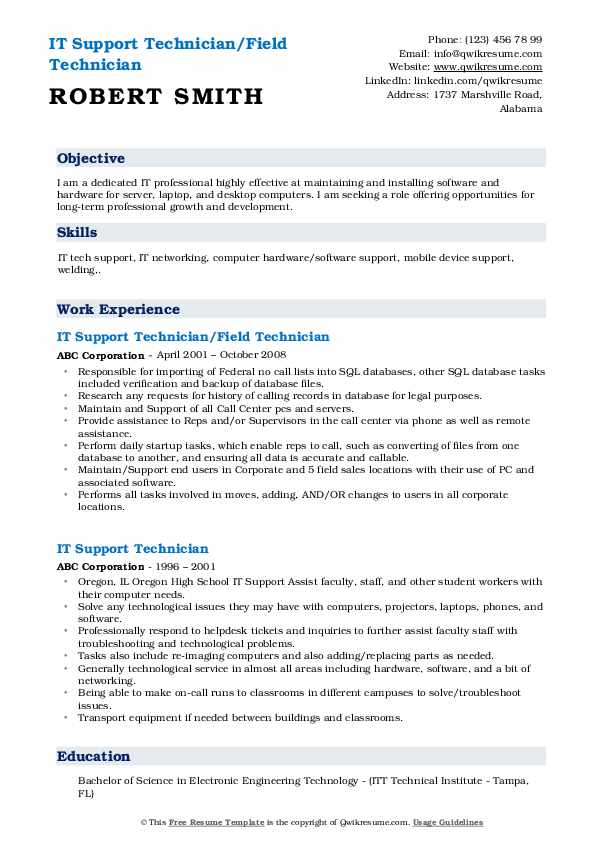 IT Support Technician/Field Technician Resume Format