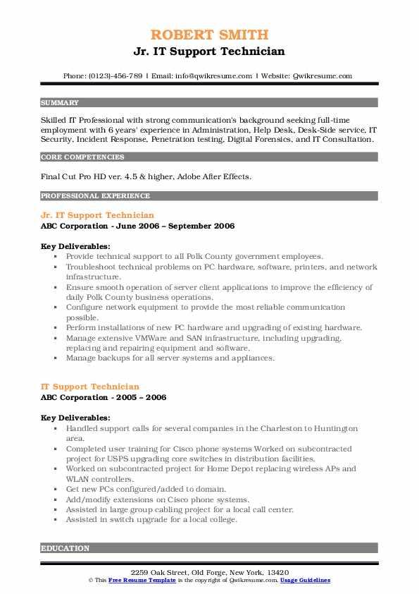 Jr. IT Support Technician Resume Sample