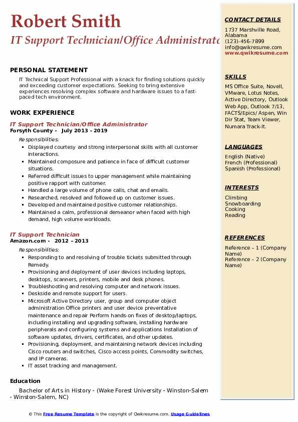 IT Support Technician/Office Administrator Resume Model