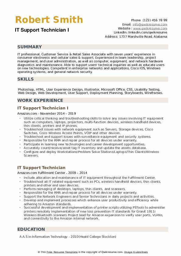 IT Support Technician Resume Samples | QwikResume