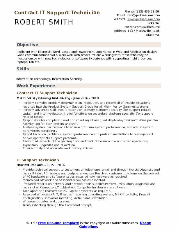 Contract IT Support Technician Resume Example