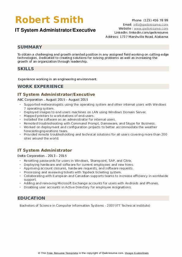 IT System Administrator Resume example
