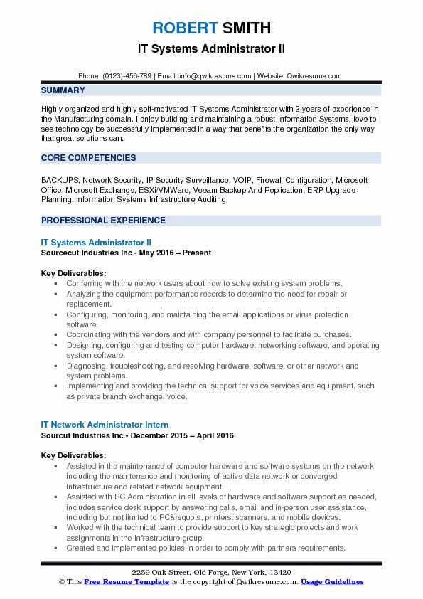 IT Systems Administrator II Resume Sample