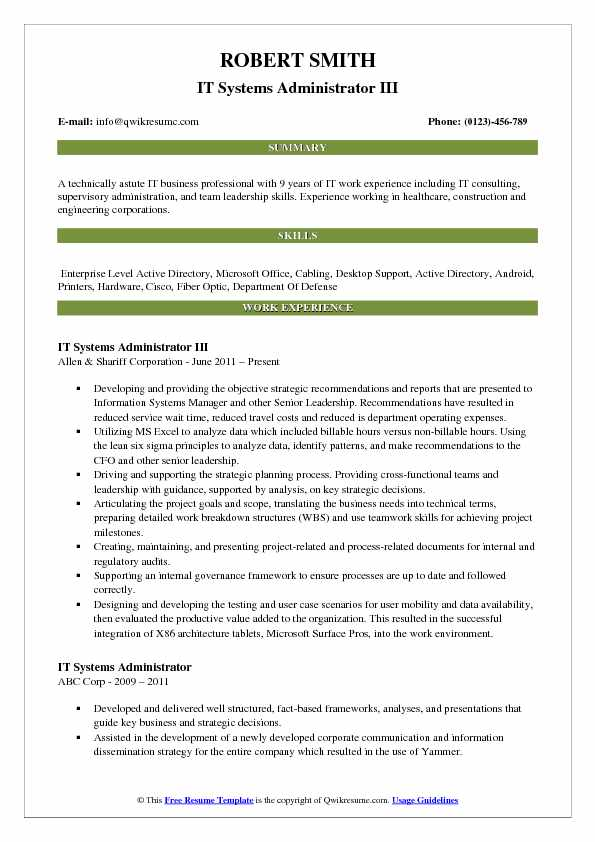 IT Systems Administrator III Resume Model