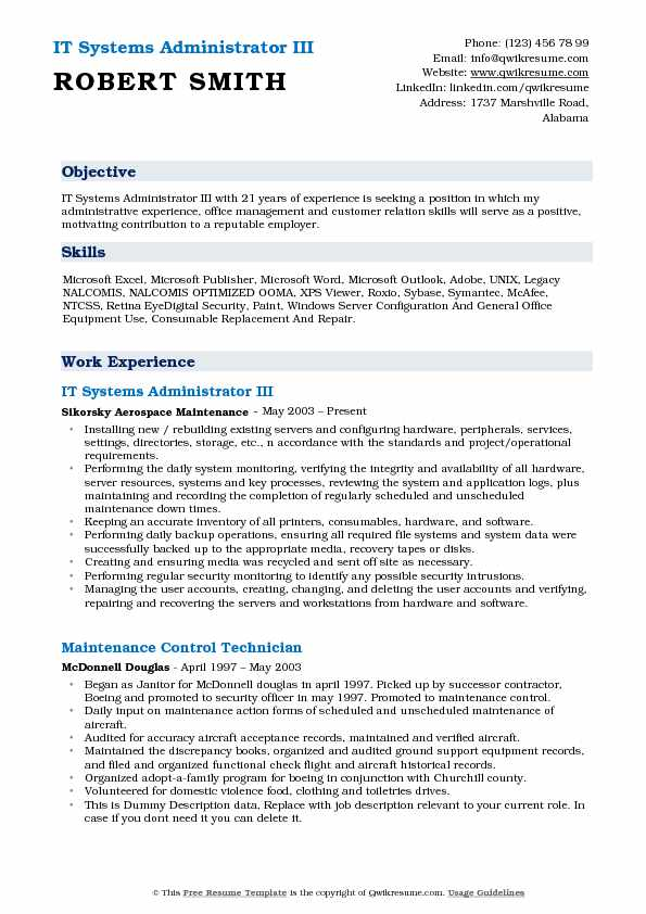 IT Systems Administrator III Resume Example