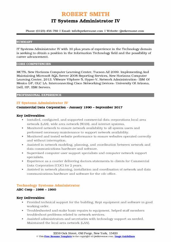 it systems administrator resume samples