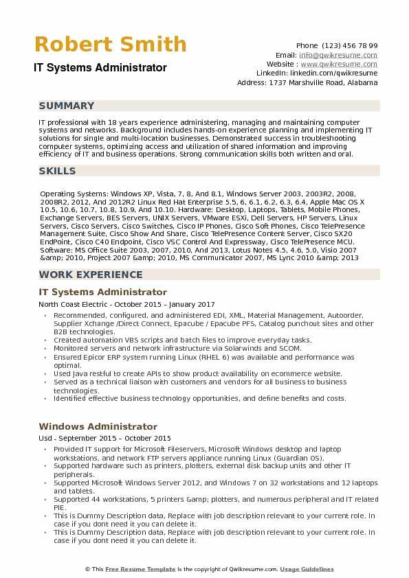 IT Systems Administrator Resume Example