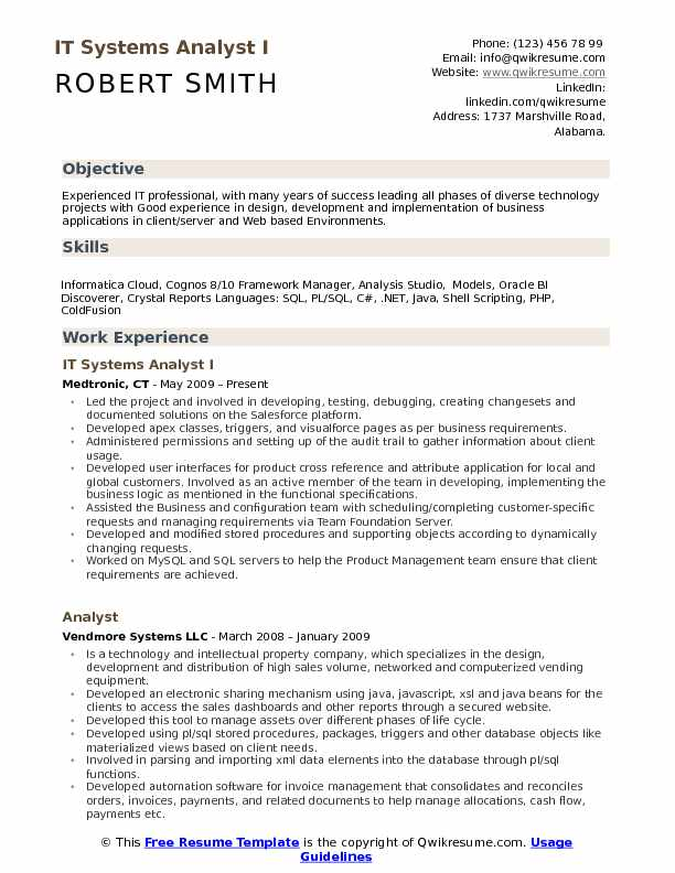 IT Systems Analyst I Resume Template