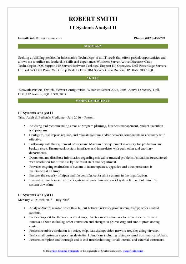 IT Systems Analyst II Resume Sample