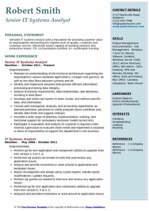 Senior IT Systems Analyst Resume Model