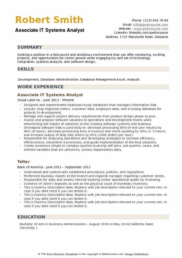 associate it systems analyst resume sample