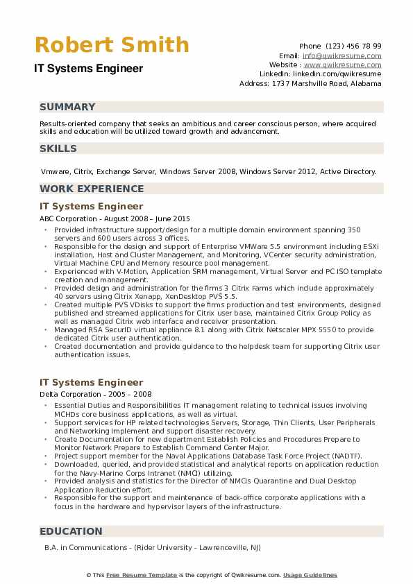 IT Systems Engineer Resume example