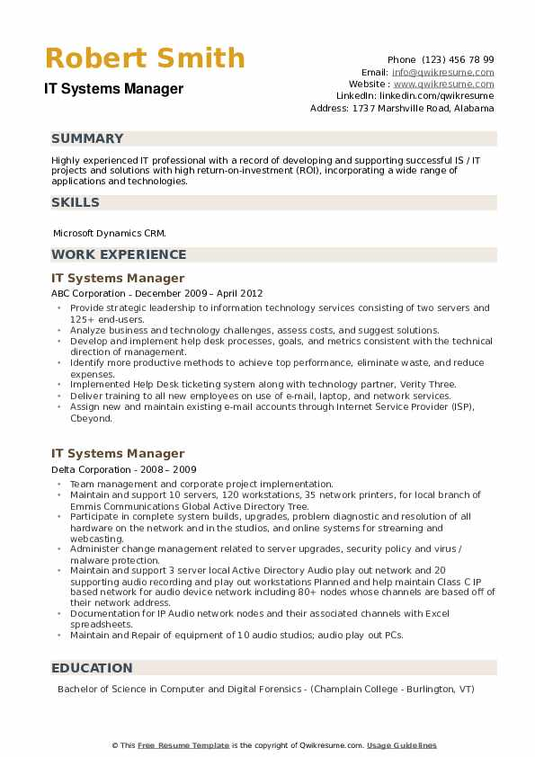 IT Systems Manager Resume example