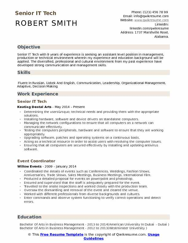 Senior IT Tech Resume Template