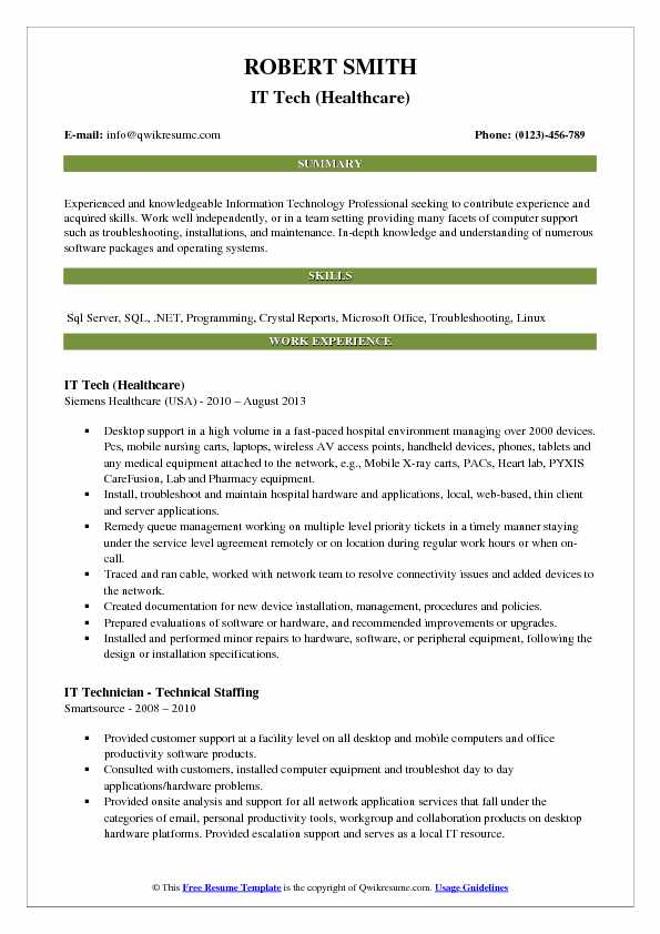 IT Tech (Healthcare) Resume Format