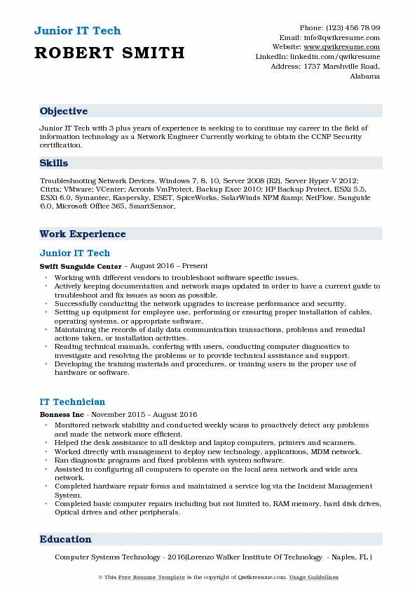 Junior IT Tech Resume Model