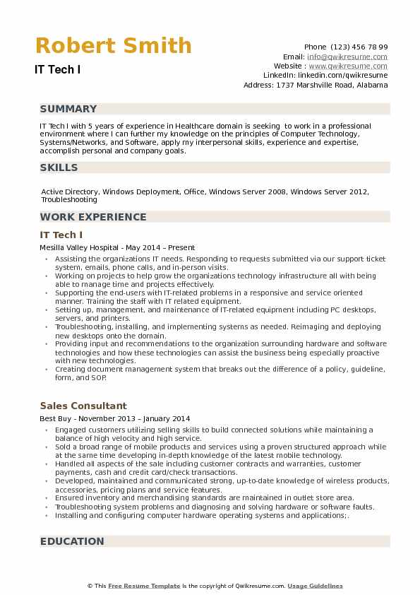 IT Tech Resume example