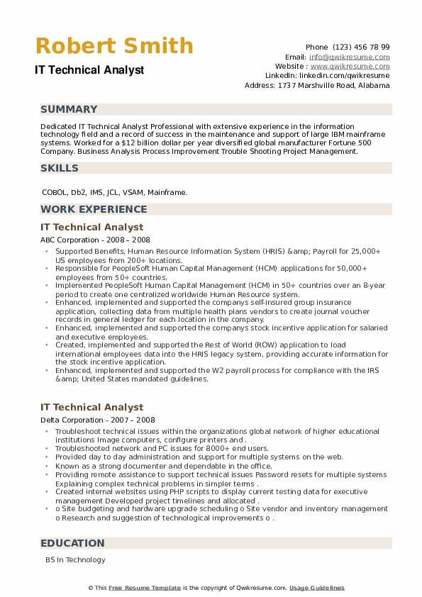 IT Technical Analyst Resume example