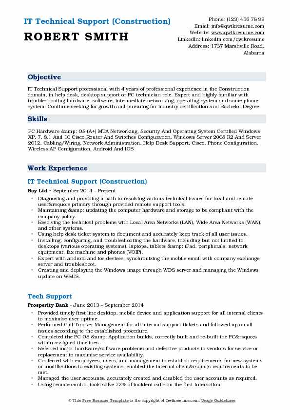 IT Technical Support (Construction) Resume Format