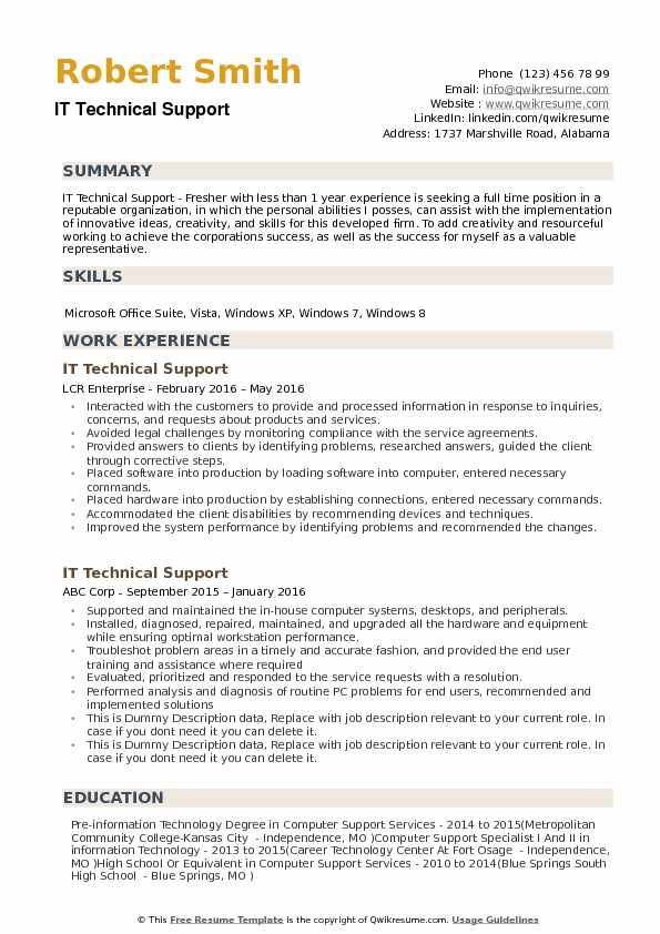 it technical support resume samples