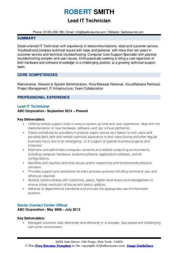 Lead IT Technician Resume Example