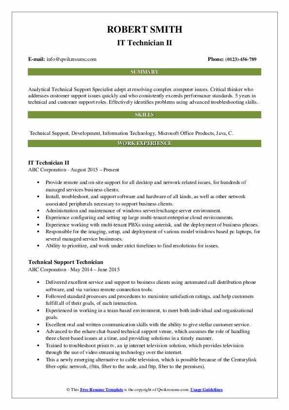 IT Technician II Resume Sample