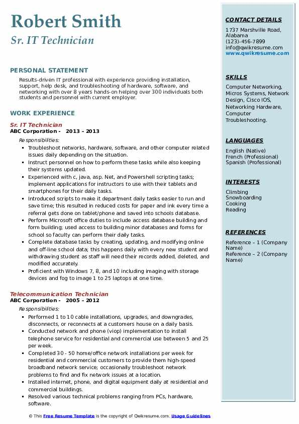 Sr. IT Technician Resume Template