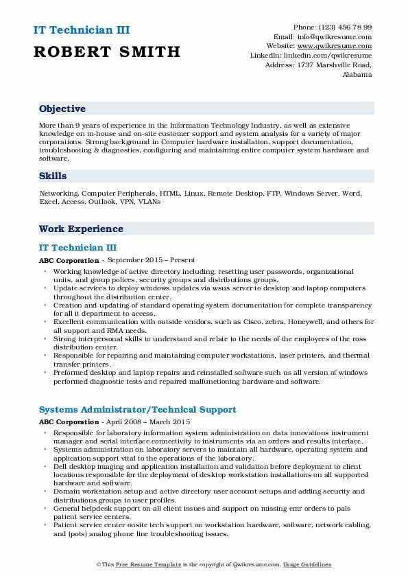IT Technician III Resume Format