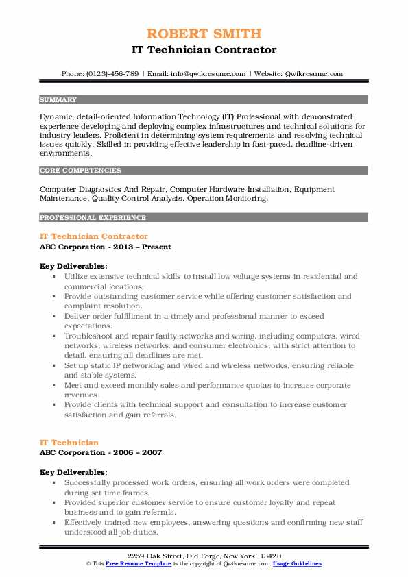 IT Technician Contractor Resume Sample