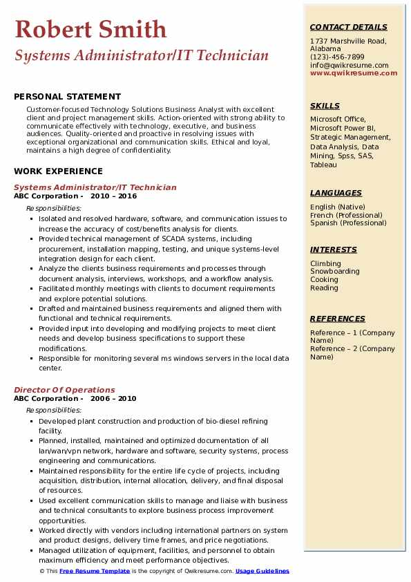 Systems Administrator/IT Technician Resume Model