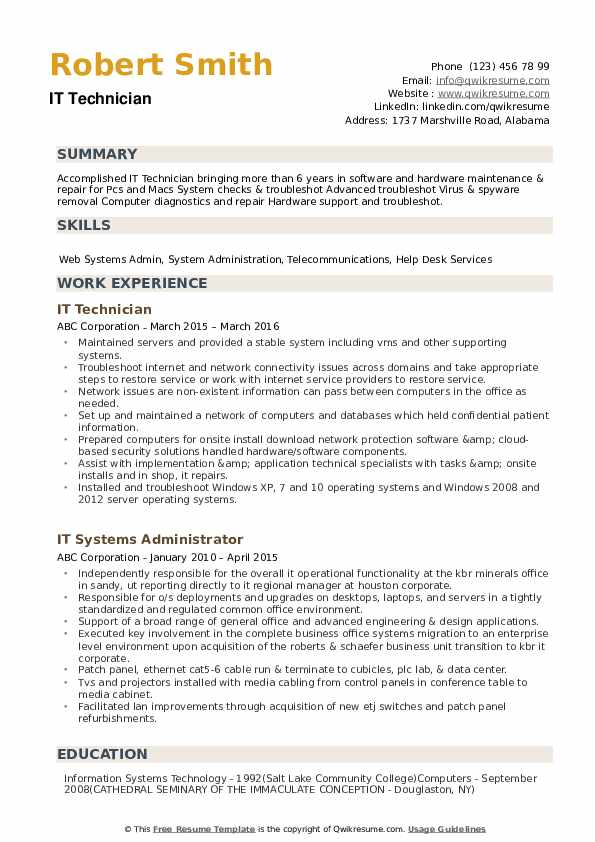 IT Technician Resume Format