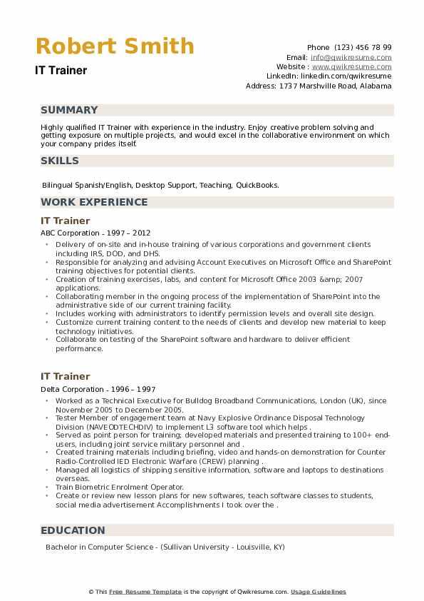 IT Trainer Resume example
